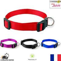 Collier Nylon pour Chien Chat Chiot Réglable  S M L XL Noir Bleu Rouge Neuf FR