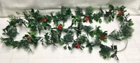 Vintage Christmas Garland 1950's Plastic Chain  over 8' Hollies Berries Greenery