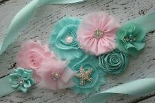 Flower Sash, Aqua pink sash,beach sash , flower Belt, maternity sash