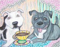 Staffordshire Bull Terrier Coffee Original Painting 9x12 Vintage Style by Artist