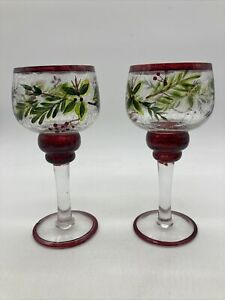 """Crackled Glass Holiday Holly & Berry Candle Holders 7"""" Tall Set of 2"""