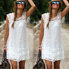 Boho Womens Lace Embroidery Summer Loose Casual Beach Mini Party Dress
