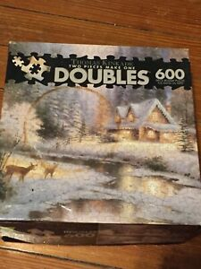 Ceaco Thomas Kinkade Deer Creek Cottage Double Jigsaw Puzzle 600 Piece Complete