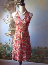 Ann Taylor Loft Petite Dress Women Sheath Halter Orange Floral  Dress Size 6P