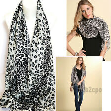 White with Grey Leopard Animal Prints Pashmina Scarf Stole Wrap Shawl 175cm New