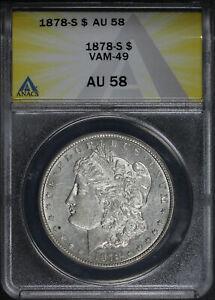 1878-S VAM-49 Funky Feather Morgan Dollar ANACS AU-58