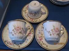 ** VHTF** Lynn's Fine China CHARMED ROSE PATTERN Set of THREE Cups/Saucers