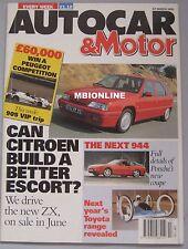 AUTOCAR 27/3/1991 featuring Mitsubishi Colt GTi, Mazda 323 GT, Saab, Citroen