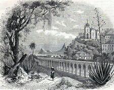 Antique print Glória church /  Rio de Janeiro Brazil 1854 aquaduct