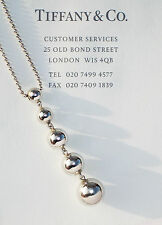 Tiffany & Co Sterling Silver Graduated Bead Drop Necklace