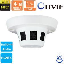 4 MP HD POE Smoke Detector style Hidden IP Camera Onvif 2.4 1080p H.265 W/Audio