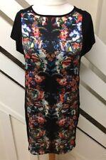 Ladies Wallis Floral Shift Tunic Black Dress Size 12 UK BNWT RRP £50