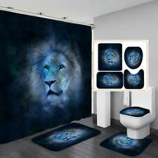 Lion Head Shower Curtain Bath Mat Toilet Cover Rug Bathroom Decor