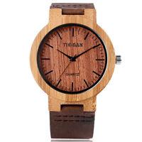 Wooden Bamboo Nature Wood Genuine Leather Band Men Women Quartz Wrist Watch Gift