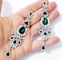 Chandelier Earrings Rhinestone Austrian Crystal 4 inch Green