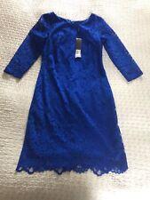 BNWT £99 Stunning OSSIE CLARK Cobalt Blue Lace 'Goldsmith ' Dress-size 10