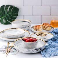 Golden Rim Marble Ceramic Plates & Dishes Set Unique Dinner Set For Tableware