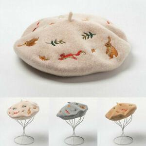 Women Wool Cashmere Beret Cap Hat Soft Warm Winter Cute Embroidered Artist.Beret