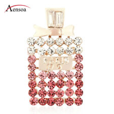 New Women Pins Pink Rhinestone Crystal Perfume Bottle Shaped Brooch Pin Jewelry