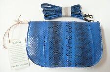 beirn Alice Cross-Body Bag Purse Clutch Cobalt Blue Snakeskin Handmade