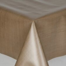NEW MILANO TAUPE BROWN LINEN TEXTURED LOOK PVC PLASTIC VINYL TABLE CLOTH COVER