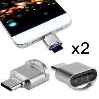 2pcs USB 2.0 Type C USB-C to Micro SD SDXC TF Card Reader Adapter for Macbook