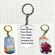 Personalised Custom Photo Double Sided Color Printed Dog Tag Key Chain KeyRing A