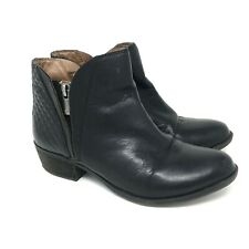 Lucky Brand Women's Ankle Booties Shoes Sz 7M Black Side Zip