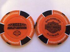 NEES HARLEY DAVIDSON POKER CHIP (ORANGE & BLACK) GALESBURG, ILLINOIS IL