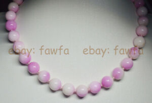 Fine 6/8/10/12mm Pink Multicolor Kunzite Round Gemstone Beads Necklaces 18-48''