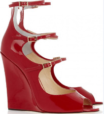JIMMIY CHOO 'Giovanna' WEDGE GLADIATOR  RED PATENT LEATHER SANDALS EU 38 US 7.5
