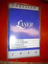 1986 Chrysler Laser Factory Operators Owners Manual Glove Box Clean