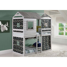 Donco Kids Loft Style Grey Twin over Twin Bunk Bed with Green Camo Tent Kit