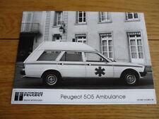 "PEUGEOT 505 AMBULANCE ORIGINAL PRESS PHOTO ""SALES BROCHURE"""