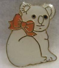 Koala Bear Lapel Pin all white W/peach Bow new!