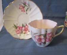 OLD ROYAL BONE CHINA  CUP & SAUCER PINK WASH INSIDE CUP
