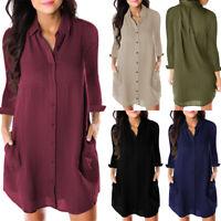 Womens Casual Long Sleeve Blouse Button Down Tops Shirt Casual Loose Mini Dress