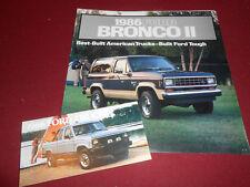 1986 FORD BRONCO II BROCHURE + 86 FORD TRUCK BRONCO VAN FULL-LINE CATALOG 2-4-1