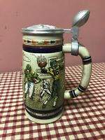 """Vintage 1983 Avon Handcrafted Collectable Lidded Beer Stein """"Football"""""""