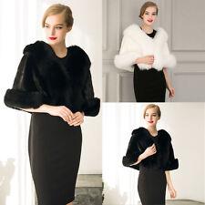 Elegant Women's Faux Fur Cape Shawl Wrap Shrug Coat Wedding Evening shawl Q8