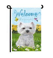 Westie dog Garden Flag Welcome friends Lawn Art Summer yard Decor