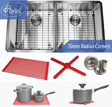 "Ariel 37"" 15mm Radius Square Stainless Steel Single Bowl Kitchen Sink Combo 16G"