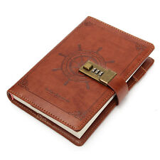 B6 112 Sheet Rudder Leather Journal Blank Diary Note Book+Password Code Lock 1pc