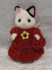 Made to fit Calico Critter MOTHER #12 Crochet Dress & Purse, Handmade Clothes
