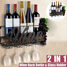 Wall Mounted Wine Rack Bottle & Glass Holder Cork Storage Store Champagne  AU