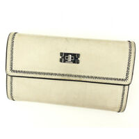 Chanel Wallet Purse Long Wallet White Black Woman Authentic Used Q303