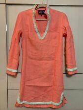Sail To Sable Dress Size XS Pink Mint FRINGE Tunic V-Neck Long Sleeve Linen NWOT