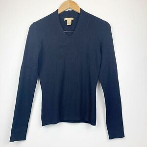Studio 121 Black V-Neck Silk Blend Sweater S