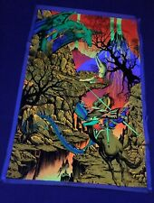 """vintage 1970 """"ST GEORGE AND THE DRAGON"""" BLACK LIGHT POSTER 35X23"""" velvet RUSSELL"""