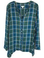 J Jill Large Plaid Tunic Top Shirt Button Long Sleeve V-Neck Casual Asymmetric